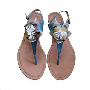 b3771157170 Misbehave Turquoise Flower Flat Sandals ~ Size 10